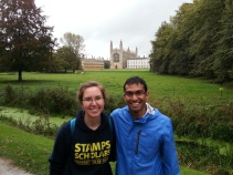 With a fellow UM Stamps Scholar, Keval Patel, who is currently working on his PhD at Cambridge (as part of a MD/ PhD program)