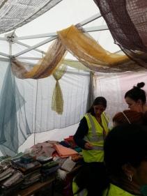 Inside the Sari Tent